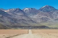 Gravel road in Andean landscape. Location: Between San Pedro de Atacama and El Tatio geysir field, Atacama, north Chile