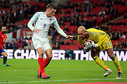 Spain goalkeeper Pepe Reina (23) saving from England striker Jamie Vardy (09) during the Friendly match between England and Spain at Wembley Stadium, London, England on 15 November 2016. Photo by Matthew Redman.