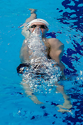 Ryan Bennett from the University of Sterling swims in the Mens 200m Backstroke Heats - Photo mandatory by-line: Rogan Thomson/JMP - 07966 386802 - 16/04/2015 - SPORT - SWIMMING - The London Aquatics Centre, England - Day 3 - British Swimming Championships 2015.