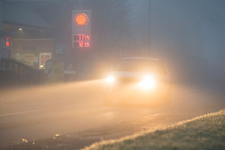 © Licensed to London News Pictures. 28/12/2020. Stokenchurch, UK. Dense fog covers the village of Stokenchurch in Buckinghamshire, south England as the UK experiences freezing temperatures over night. . Photo credit: Ben Cawthra/LNP