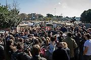 Matteo Salvini, leader della lega Nord, visita il campo rom del quartiere periferico di Tor Sapienza. Roma 24 Febbraio 2016. Christian Mantuano / OneShot