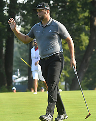 August 10, 2018 - St. Louis, Missouri, U.S. - ST. LOUIS, MO - AUGUST 10: Jon Rahm acknowledges the applause of the crowd after sinking a birdie shot on the #10 green during the second round of the PGA Championship on August 10, 2018, at Bellerive Country Club, St. Louis, MO.  (Photo by Keith Gillett/Icon Sportswire) (Credit Image: © Keith Gillett/Icon SMI via ZUMA Press)