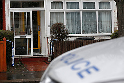 © Licensed to London News Pictures. 04/04/2013, London, UK.  Police stands guard outside the house in Croydon, South London where a 67 year old man died after being taken ill after he arrived back home, Wednesday, to find his home was burgled, Thursday, April 4, 2013. Photo credit : Sang Tan/LNP