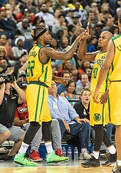 July 6, 2018 - Oakland, CA, U.S. - OAKLAND, CA - JULY 06: DeShawn Stevenson (92) co-captain of the Ball Hogs congratulates Andre Owens (20) of the Ball Hogs at the end of game 2 in week three of the BIG3 3-on-3 basketball league on Friday, July 6, 2018 at the Oracle Arena in Oakland, CA(Photo by Douglas Stringer/Icon Sportswire) (Credit Image: © Douglas Stringer/Icon SMI via ZUMA Press)