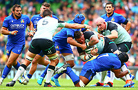 Rugby Union - 2019 pre-Rugby World Cup warm-up - Ireland vs. Italy<br /> <br /> Andrew Porter (Ireland) is tackled by Maxime Mbanda and Dean Budd (c) (Italy) at The Aviva Stadium.<br /> <br /> COLORSPORT/KEN SUTTON