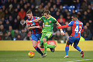 Sebastian Coates of Sunderland goes past Connor Wickham of Crystal Palace and Jason Puncheon of Crystal Palace. Barclays Premier league match, Crystal Palace v Sunderland at Selhurst Park in London on Monday 23rd November 2015.<br /> pic by John Patrick Fletcher, Andrew Orchard sports photography.