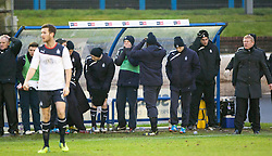 Falkirk's bench after Blair Alston misses a first half chance.<br /> Cowdenbeath 0 v 2 Falkirk, Scottish Championship game today at Central Park, the home ground of Cowdenbeath Football Club.<br /> © Michael Schofield.