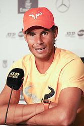 May 8, 2019 - Madrid, Spain - Rafael Nadal attends a press conference during day five of the Mutua Madrid Open at La Caja Magica on May 08, 2019 in Madrid, Spain  (Credit Image: © Oscar Gonzalez/NurPhoto via ZUMA Press)