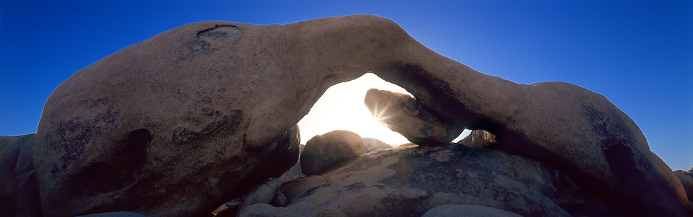The long span of Arch Rock frames a brilliant sunrise in Joshua Tree National Park in the Mojave Desert..Also sometimes called Ryan Arch.