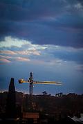 Golden construction crane. Sant Cugat del Valles, Barcelona, Catalonia