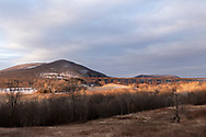 Cornwall, New York - The Moodna Viaduct railroad trestle and Schunnemunk Mountain on the morning of  March 12, 2019.
