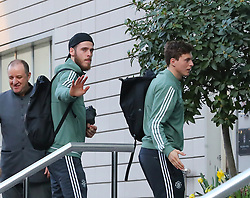 The Manchester United team arrive at The Lowry Hotel on Saturday evening to prepare for their home game against West Brom on Sunday afternoon. Seen: Victor Lindelof and David De Gea.