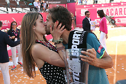 May 6, 2018 - Estoril, Portugal - Joao Sousa of Portugal kisses his girlfriend after winning the Millennium Estoril Open ATP 250 tennis tournament final against Frances Tiafoe of US, at the Clube de Tenis do Estoril in Estoril, Portugal on May 6, 2018. (Joao Sousa won 2-0) (Credit Image: © Pedro Fiuza/NurPhoto via ZUMA Press)