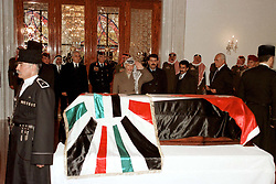 Palestinian president Yasser Arafat (center) seen during King Hussein's funeral at the Royal palace in Amman, Jordan on February 8, 1999. Twenty years ago, end of January and early February 1999, the Kingdom of Jordan witnessed a change of power as the late King Hussein came back from the United States of America to change his Crown Prince, only two weeks before he passed away. Photo by Balkis Press/ABACAPRESS.COM