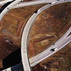 aerial photograph of American highways, roadways