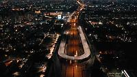 Aerial view of empty streets at night due to coronavirus pandemic in Gurgaon, Haryana, India