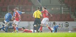 Ross County's penalty claim before St Johnstone's second goal. St Johnstone 2 v 1 Ross County, Scottish Premiership 22/11/2014 at St Johnstone's home ground, McDiarmid Park.
