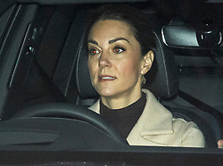 © Licensed to London News Pictures. 13/01/2020. London, UK. CATHERINE DUCHESS OF CAMBRIDGE is seen leaving Kensington Palace in London. Queen Elizabeth II is due to hold a summit meeting with senior members of the Royal family at Sandringham later, following a recent announcement that Prince Harry and Megan, The Duke and Duchess of Sussex, will be stepping back from official Royal duty and spending more time abroad. Photo credit: Ben Cawthra/LNP