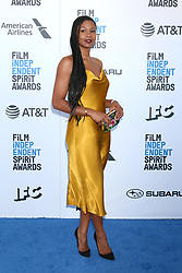 February 23, 2019 - Santa Monica, CA, USA - LOS ANGELES - FEB 23:  Emayatzy Corinealdi at the 2019 Film Independent Spirit Awards on the Beach on February 23, 2019 in Santa Monica, CA (Credit Image: © Kay Blake/ZUMA Wire)