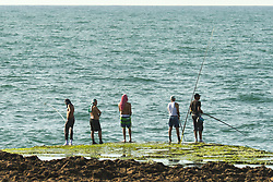 June 27, 2017 - Rabat, Morocco - People fishing during the final day of Eid al-Fitr holiday on Rabat seafront..On Tuesday, June 27, 2017, in Rabat, Morocco. (Credit Image: © Artur Widak/NurPhoto via ZUMA Press)