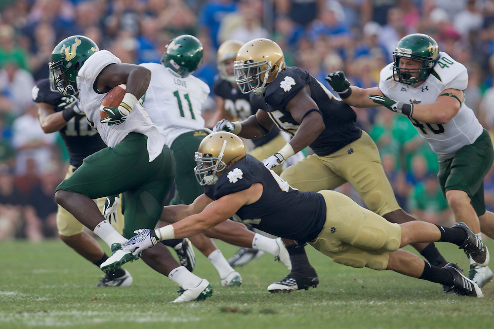 South Florida running back Darrell Scott (#3)) attempts to break tackle of Notre Dame inside linebacker Carlo Calabrese (#44) in action during NCAA football game between Notre Dame and South Florida.  The South Florida Bulls lead the Notre Dame Fighting Irish 16-0 at halftime in game at Notre Dame Stadium in South Bend, Indiana.  The game has been delayed due to rain storms and lightning in the area.