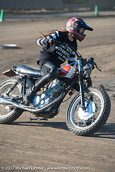 Misomi Takamine racing one of her and husband Go's Brat Style bikes at their flat track racing at West Point Offroad Village. Kawagoe, Saitama. Japan. Wednesday December 6, 2017. Photography ©2017 Michael Lichter.