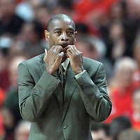 10 May 2011: Atlanta Hawks head coach Larry Drew is seen during the Chicago Bulls 95-83 victory over the Atlanta Hawks, during game 5 of the Eastern Conference semi finals at the United Center, Chicago, Illinois, USA.