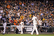 San Francisco Giants fans cheer for starting pitcher Matt Moore (45) during a game against the Colorado Rockies at AT&T Park in San Francisco, Calif., on September 27, 2016. (Stan Olszewski/Special to S.F. Examiner)