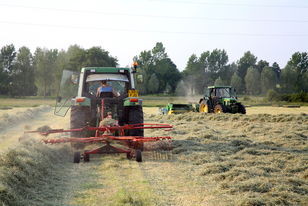 Farm worker raking hay into rows with tractor with baler