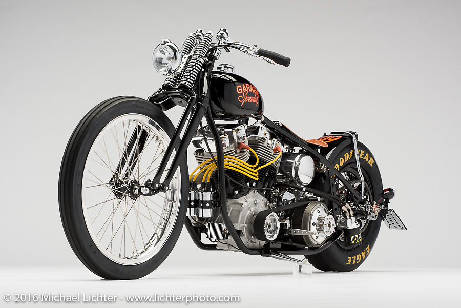 """""""Garage Special"""", a drag style custom shovelhead built by Stacy B. McCleary of Stacy's Garage in Manteca, CA. Photographed by Michael Lichter during the Easyriders Bike Show in Sacramento, CA on January 8, 2016. ©2016 Michael Lichter."""