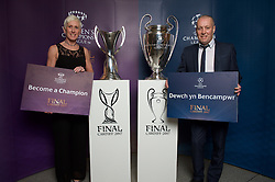 CARDIFF, WALES - Monday, December 5, 2016: Guests at the Wales Sport Awards 2016 pose with the UEFA Champions League Trophies before the ceremony at the Millennium Centre. Volunteer of the Year Finalist Delyth Jones and Medwyn Jones. (Pic by Ian Cook/Propaganda)