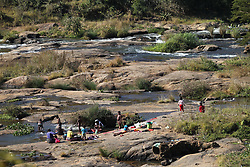 South Africa - Durban - 23 June 2020 - Community of Mbhava in Swayimane, just outside Pietermaritzburg fetching water from the Msunduzi river, wash their clothes and refreshing<br /> Picture: Doctor Ngcobo/African News Agency(ANA)