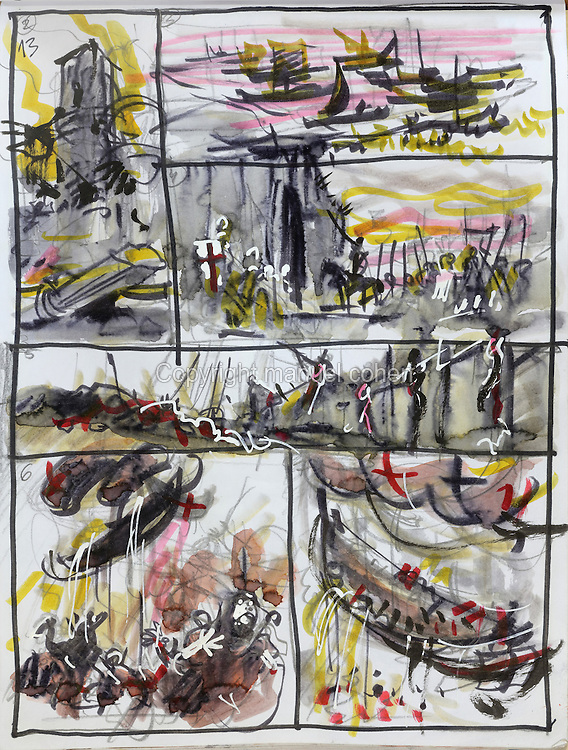 Storyboard page (no. 13) with Thorgal arriving at the gates of Bag Dadh, from a sketchbook featuring characters, costumes and storyboards for Le Feu Ecarlate or the Scarlet Fire, Series 35 of the Thorgal comic book series, to be published November 2016, by Grzegorz Rosinski, 1941-, Polish comic book artist. Rosinski was born in Stalowa Wola, Poland, and now lives in Switzerland, and is the author and designer of many Polish comic book series. He created Thorgal with Belgian writer Jean Van Hamme. The series was first published in Tintin in 1977 and has been published by Le Lombard since 1980. The stories cover Norse mythology, Atlantean fantasy, science fiction, horror and adventure genres. Le Feu Ecarlate takes place in Bag Dadh, a city under siege by the Magnus force, where Thorgal must find Aniel and save him from the Red Wizards who made him the reincarnation of their Grand Master Kahaniel. Picture by Manuel Cohen / Further clearances requested, please contact us and/or visit www.lelombard.com