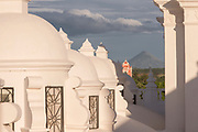 View of the white roof and the exterior of Leon Cathedral, Leon, Nicaragua