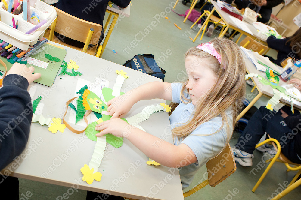 Caitlyn O'Connor making a Shamrock for St Patricks day  in Mullagh National School Mullagh Co.Clare.<br /> Pictured Credit Brian Gavin Press 22