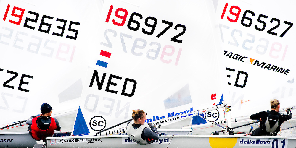 The Netherlands, Medemblik, 30-05-2010.<br /> Sailing, SPA Regatta.<br /> Class : Laser Radial, women.<br /> Marit Bouwmeester of the Netherlands in the middle, has a good start and wins this medal race.<br /> Photo : Klaas Jan van der Weij