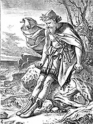 Ulysses on Ogygia'. Ulysses, mythical king of Ithaca, hero of Homer's 'Odyssey' (Odysseus). Illustration by Joseph Noel Paton (1821-1901) for his own poem published London 1864. Paton was the original illustrator of Charles Kingsley 'The Water Babies'.