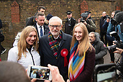 Labour party leader Jeremy Corbyn poses for photographs outside a polling station in London, United Kingdom on 12th December, 2019. The election ballot papers will be counted through the night and the result is expected in the early hours of Friday morning.