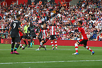 Football - 2019 / 2020 Premier League - Southampton vs. Liverpool<br /> <br /> Sadio Mane of Liverpool curls in the opening goal at St Mary's Stadium Southampton<br /> <br /> COLORSPORT/SHAUN BOGGUST