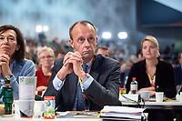 07 DEC 2018, HAMBURG/GERMANY:<br /> Friedrich Merz, CDU, Rechtsanwalt und Kandidat fuer das Amt des Parteivorsitzenden, sitzt in der Reihen der Delegierten aus NRW, waehrend der Bewerbungsrede von AKK, CDU Bundesparteitag, Messe Hamburg<br /> IMAGE: 20181207-01<br /> KEYWORDS: party congress
