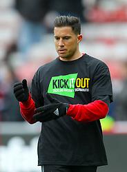 Sunderland's Bryan Oviedo warms up wearing a kick it out t-shirt