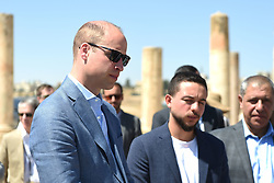 The Duke of Cambridge (left) and Crown Prince Hussein of Jordan during a visit to the Jerash archaeological site in Jordan.