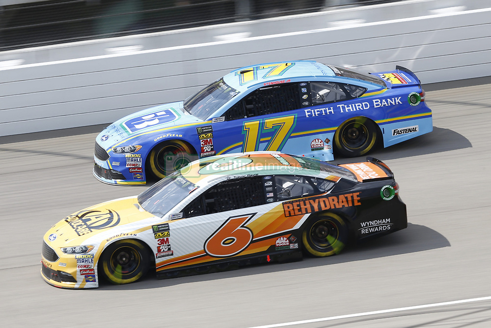 August 12, 2018 - Brooklyn, Michigan, United States of America - Trevor Bayne (6) and Ricky Stenhouse, Jr (17) battle for position during the Consumers Energy 400 at Michigan International Speedway in Brooklyn, Michigan. (Credit Image: © Chris Owens Asp Inc/ASP via ZUMA Wire)