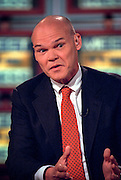 Political commentator James Carville discusses the ongoing scandal involving President Clinton during NBC's Meet the Press September 27, 1998 in Washington, DC.