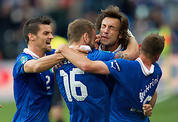 14-06-2012 VOETBAL: UEFA EURO 2012 DAY 7: POLEN OEKRAINE<br /> Christian Maggio of Italy, Daniele De Rossi of Italy, Andrea Pirlo of Italy  and Emanuele Giaccherini of Italy celebrate when Andrea Pirlo of Italy scored  during the Euro 2012 football championships match Italy v Croatia at the stadium in Poznan. <br /> ***NETHERLANDS ONLY***<br /> ©2012-FotoHoogendoorn.nl