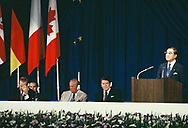 Japanese Prime Minister Yasuhiro Nakasone at a press conference of leaders at the Economic Summit in Tokyo on May 6, 1986.<br />Photo by Dennis Brack