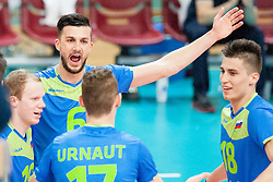 Mitja Gasparini #6 of Slovenia celebrates during volleyball match between National Teams of Slovenia and FRY Macedonia of 2014 CEV Volleyball European League Man - Pool B, on July 5, 2014, in Arena Ljudski vrt Lukna, Maribor, Slovenia, Slovenia. Photo by Urban Urbanc / Sportida