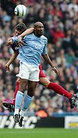 Photo:  Frances Leader.Digitalsport<br /> Crystal Palace v Manchester City.  Barclays Premiership. Selhurst Park.<br /> 18/09/2004<br /> Crystal Palace's Mark Hudson tackles Man City's Nicolas Anelka