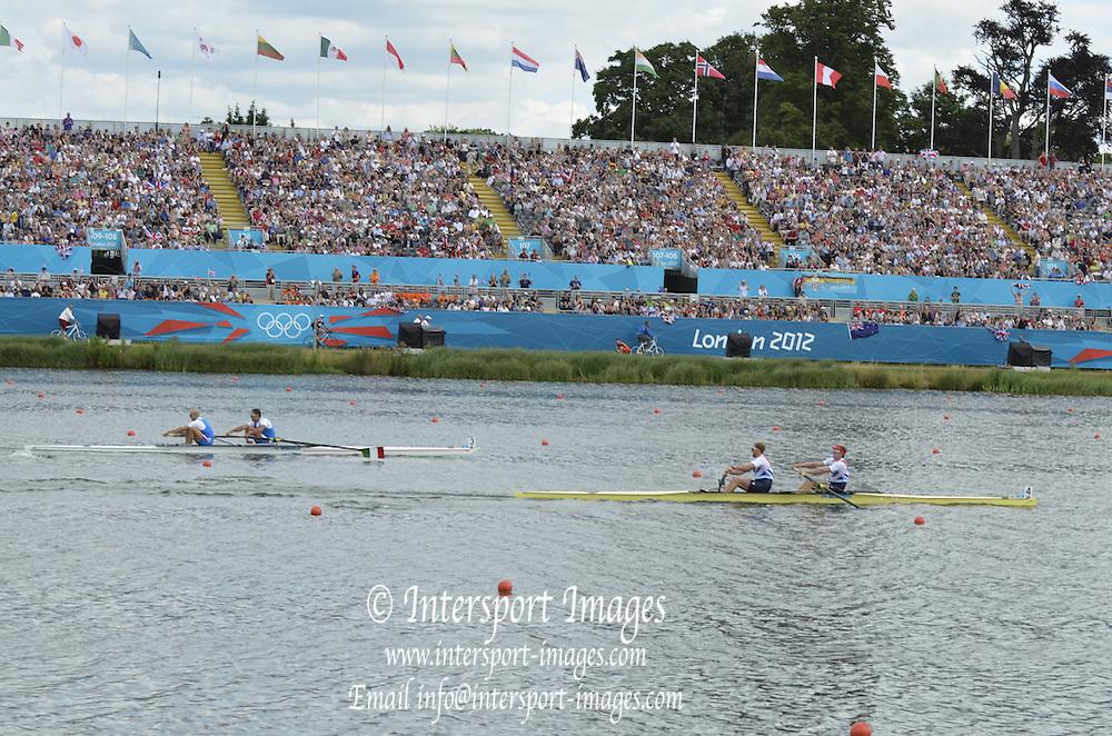Eton Dorney, Windsor, Great Britain,..2012 London Olympic Regatta, Dorney Lake. Eton Rowing Centre, Berkshire[ Rowing]...Description;   GBR  M2-  race    12:25:57  Saturday  28/07/2012.[Mandatory Credit: Peter Spurrier/Intersport Images].