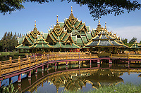 Ancient City Pavilion of the Enlightened.  Ancient Siam also known as the Ancient City - Mueang Boran in Thai- is an historical park constructed under the patronage of Lek Viriyaphant spreading over 200 acres. Ancient Siam has been called the world's largest outdoor museum;  the park features one hundred and sixteen structures of Thailand's monuments and attractions. The grounds of Ancient Siam correspond roughly to the shape of Thailand. Some of the structures are replicas of sites, while others are scaled down in size.  The replicas were constructed with the assistance of the National Museum of Thailand for the sake of historical accuracy.